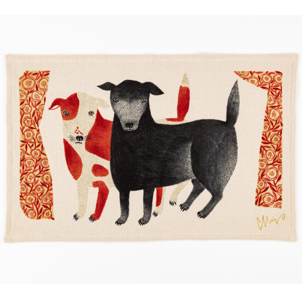 ティータオル 黒犬チョークと赤斑犬のテン / イヌ TEA TOWEL 今治タオル 1-67963-21-Rスタイル写真