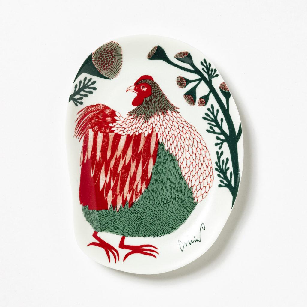 MiW 小皿 / 裏庭の草むらの鶏 M-67958-00-2スタイル写真